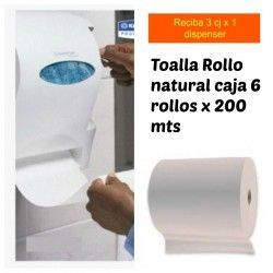 Dispensador + 1 Cja Papel Toalla 6x2x150m