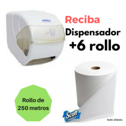 Dispensador + 1 Cja Papel Toalla 12x150m