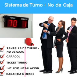 PANTALLA DE TURNO + No Caja: KIT COMPLETO PANTALLA, DISPENSADOR, TICKET